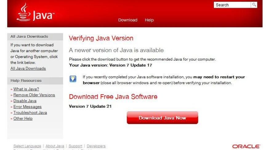 På http://www.java.com/en/download/installed.jsp kan man teste, om man har den nyeste udgave af Java, som hedder version 7 opdatering 21. Det er ikke tilfældet her, hvor det er version 7 opdatering 17, der er installeret. Java kan stilles til automatisk at hente og installere nyeste udgave.