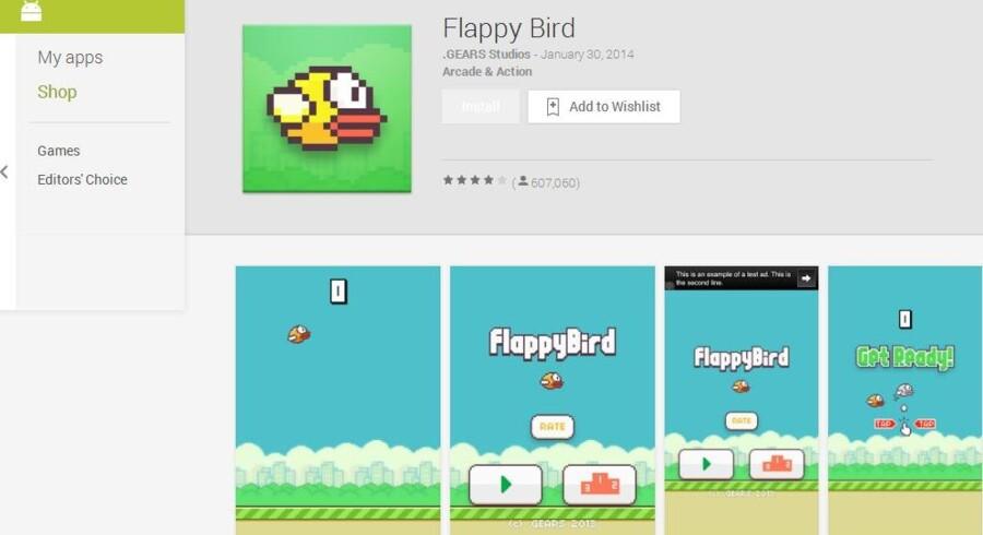 Sådan så det indtil søndag ud, når man ville hente Flappy Bird i Google Play. Nu er spillet fjernet både her og i Apples App Store.