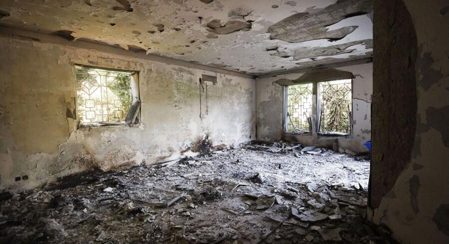 Ødelæggelserne i det amerikanske konsulta i Benghazi i Libyen er omfattende.
