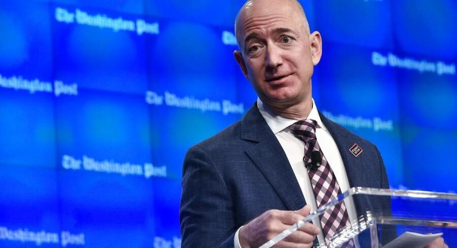 Amazon-topchef, Jeff Bezos, som også eger avisen Washington Post, kan føje titlen »borgmester på livstid« til sit CV, hvis bare han lige vælger at lægge sit nye hovedkvarter i en bestemt by. Arkivfoto: Mandel Ngan, AFP/Scanpix