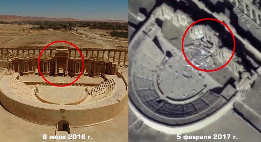 """Et billede fra den russiske dronevideo som viser ødelæggelserne i det romerske amfiteater i den syriske by, Palmyra y / HO / RESTRICTED TO EDITORIAL USE - MANDATORY CREDIT """"AFP PHOTO / HO / Russian Defence Ministry - NO MARKETING NO ADVERTISING CAMPAIGNS - DISTRIBUTED AS A SERVICE TO CLIENTS"""