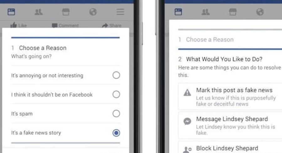 Facebook-brugere i Tyskland kan om ganske kort tid bruge den nye funktion og markere, hvis de mener, at en nyhed, som dukker op, er falsk. Man kan samtidig vælge at sende besked om det til den, der sendte nyheden videre. Foto: Facebook