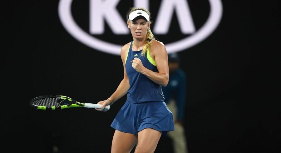 Caroline Wozniacki var især tilfreds med sine returneringer i kampen mod Kiki Bertens i Australian Open.