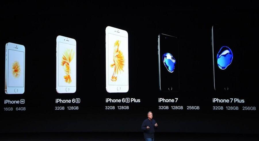 Apples iPhone 7-telefoner lanceres 16. september i også Danmark, og Apple kan nu ikke levere flere. Arkivfoto: Josh Edelson, AFP/Scanpix