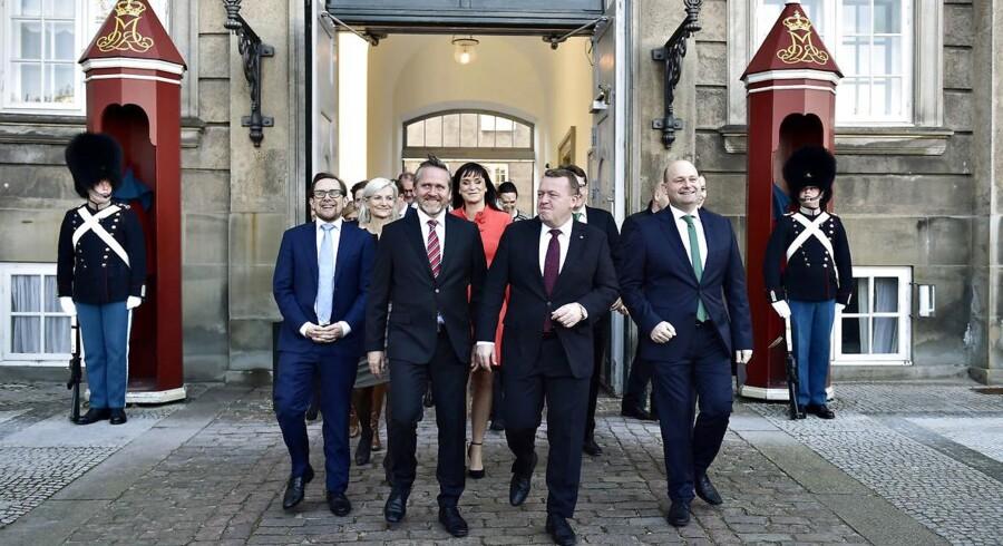 Det er 100 dage siden, at VLAK-regeringen blev dannet. Her med Lars Løkke Rasmussen, Anders Samuelsen og Søren Pape Poulsen i spidsen.