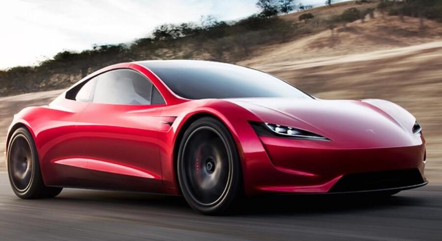 PR-foto af den nye Tesla Roadster.