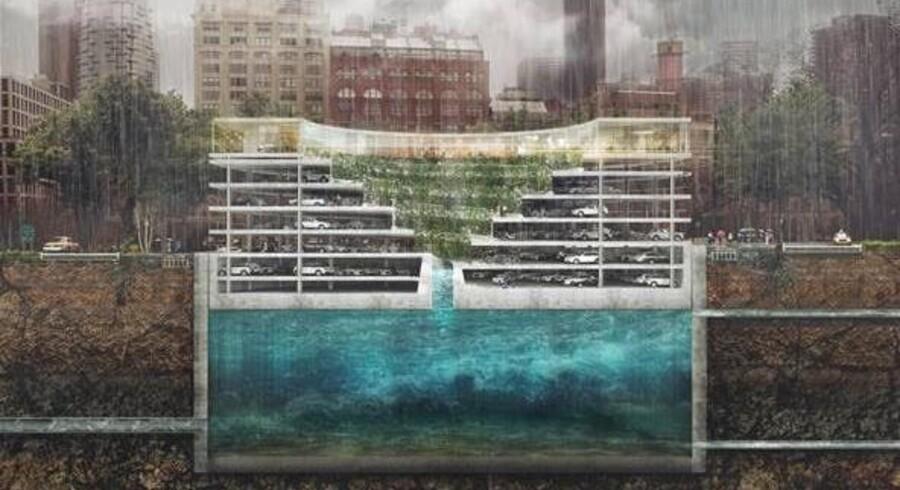 Tegnestuen Tredje Natur foreslår at kombinere underjordiske vandreservoirs og parkeringshuse, således at det sidste løftes op fra undergrunden, når der er brug for plads til vandet.