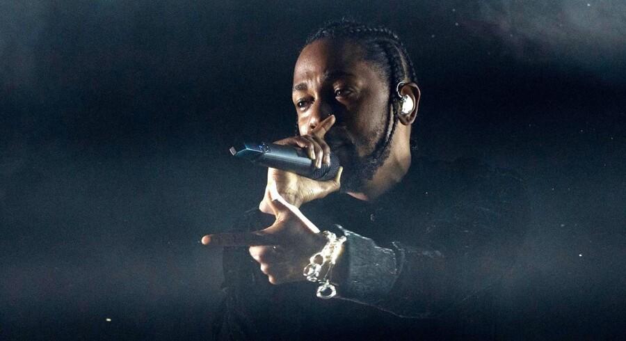 Kendrick Lamar på scenen under Coachella Festival i 2017. Det var ikke tilladt for pressen at tage billeder i Royal Arena torsdag.