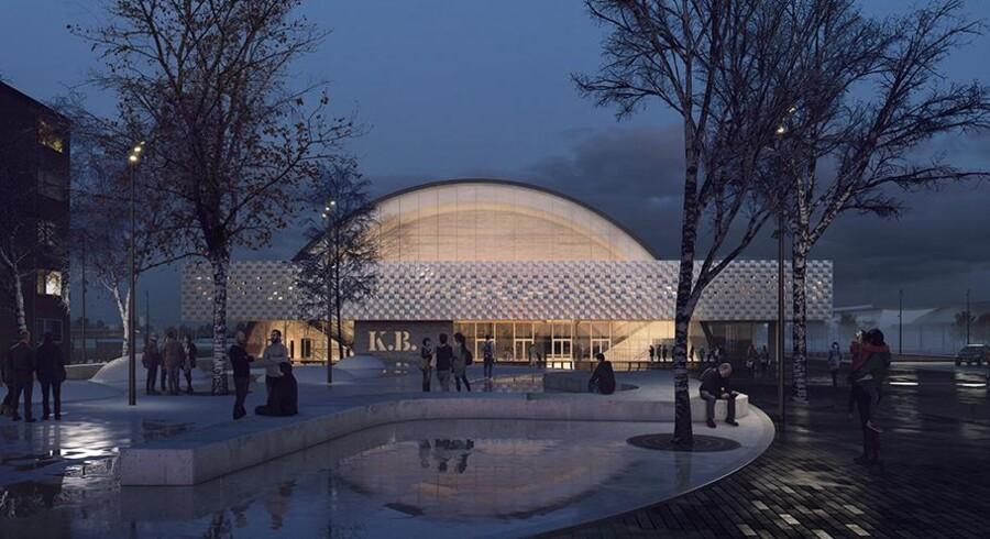Sådan vil den nye K.B. Hallen se ud, når den står helt færdig i slutningen af 2018.