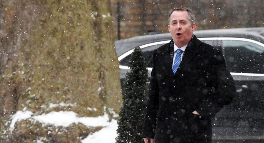 Den britiske minister for international handel, Liam Fox, er regeringens mest kompromisløse Brexitfortaler, men nu bliver han afkrævet resultater fra sit eget ministerium. Foto: Andy Rain/EPA