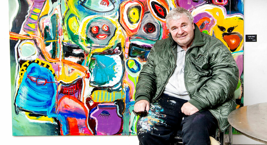 """Michael Bundesen, tidligere frontmand for bandet Shu-Bi-Dua sprang lørdag d. 24. juni 2017 ud som kunstmaler da han havde fernisering på sin første udstilling """"Bundesens univers"""" på Galleri Puls Art i København."""