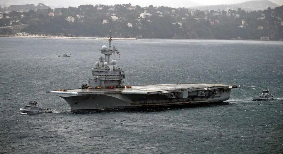 Frankrigs forsvarsbudget vil i 2025 vokse til 50 milliarder euro fra 34 milliarder euro. Her ses hangarskibet »Charles de Gaulle«.