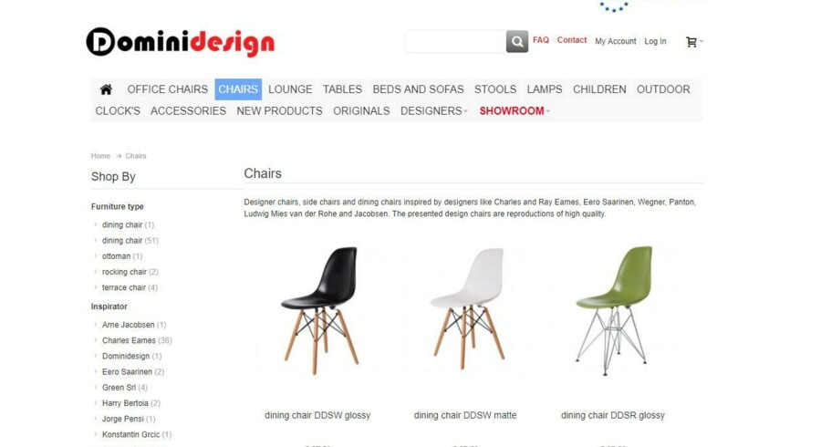 Det irske netsted, Dominidesign, lægger ikke skjul på, at det sælger reproduktioner af kendte designeres møbler. Nu spærres adgangen til siden for danske internetbrugere.