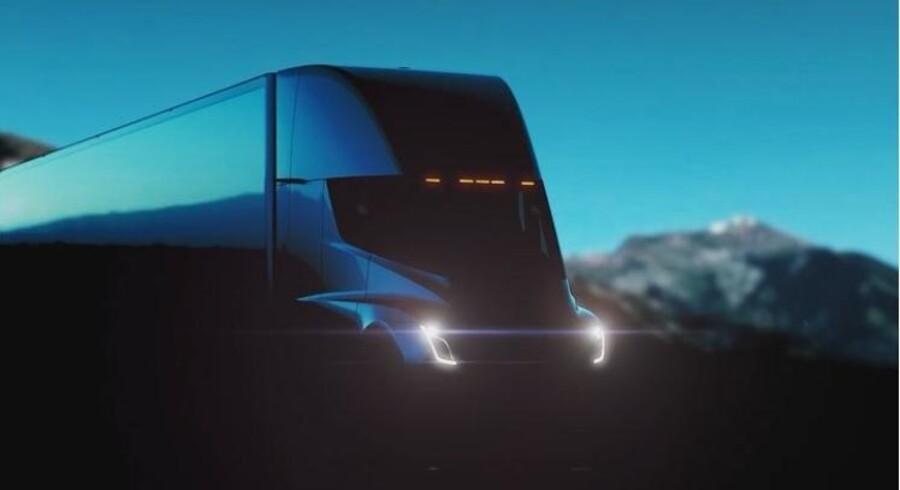 Her kommer den, Teslas nye, eldrevne lastbil, som afsløres torsdag aften. Foto: Elon Musks Instagram