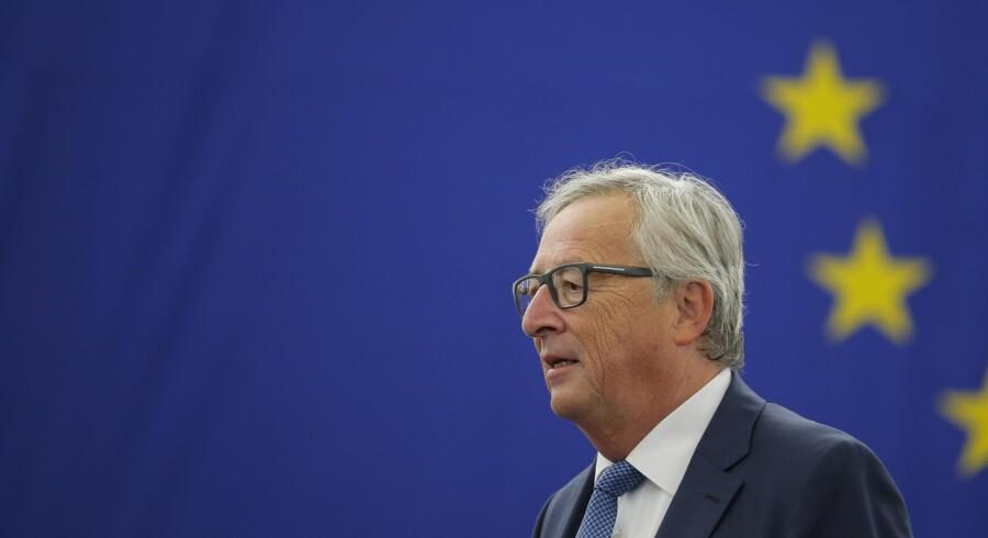 EU-Kommissionens formand, Jean-Claude Juncker, holder onsdag klokken 9 sin store årlige tale om Den Europæiske Unions tilstand. Det sker i Europa-Parlamentet i Strasbourg. Her ses han under talen sidste år.