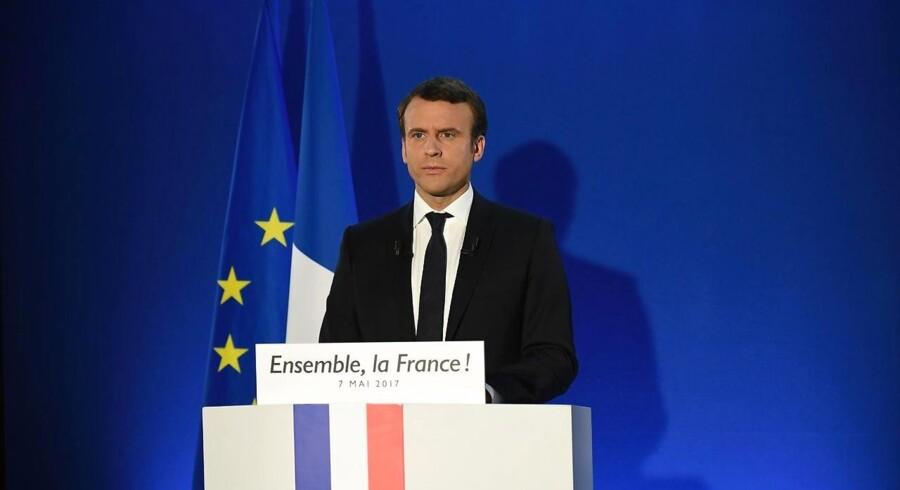 Den nyvalgte franske præsident lige inden, han gik på talerstolen søndag aften.