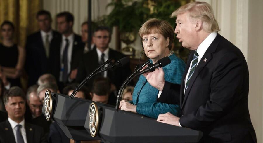 For både præsident Donald Trump og kansler Angela Merkel var det på deres første møde i Det Hvide Hus et spørgsmål om at finde en form for fælles fodslag efter flere skærmydsler.