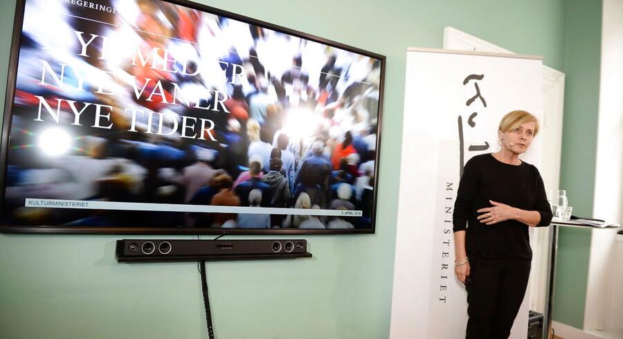 Kulturminister Mette Bock (LA) præsenterer regeringens udspil til et nyt medieforlig i kulturministeriet i København, torsdag den 5. april 2018. (Foto: Mads Claus Rasmussen/Scanpix 2018)