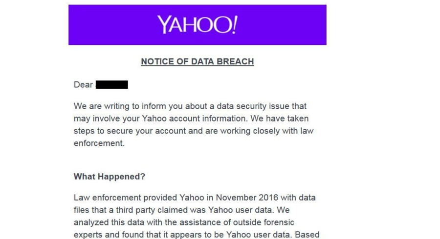 Også danskere har fået direkte besked fra Yahoo om, at deres e-mailkonto er blevet hacket, og at de snarest skal skifte kodeordet.