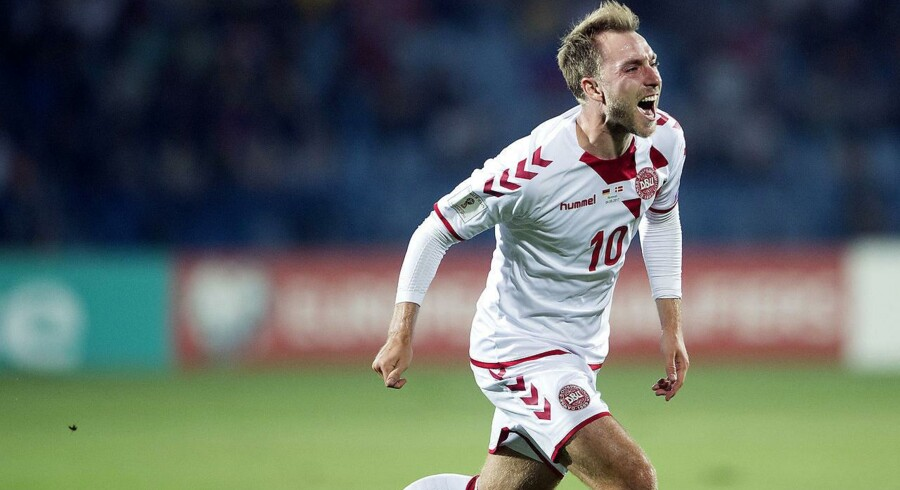 Christian Eriksen jubler efter en scoring i VM-kvalifikationskampen mod Armenien. Lørdag aften kan han hjælpe Danmark endnu et skridt mod VM i Rusland næste sommer.
