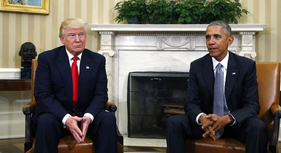 Den tiltrædende amerikanske præsident Donald Trump og den afgående præsident, Barack Obama