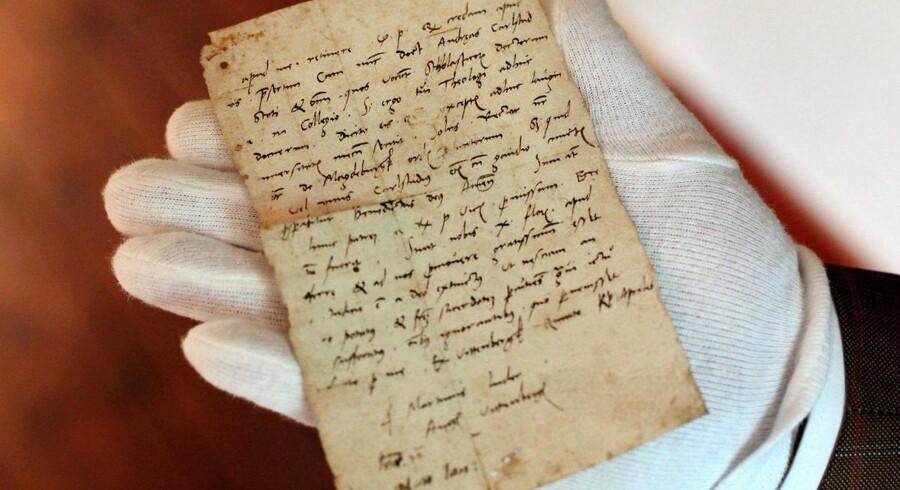 En af Martin Luthers håndskrevne teser.