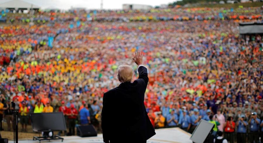 Den amerikanske præsident, Donald Trump, talte mandag foran tusindvis af spejdere i West Virginia.