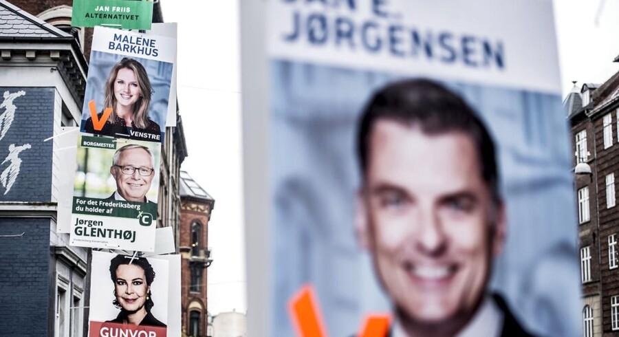 Valgplakat med Jan E. Jørgensen fra Venstre og Jørgen Glenthøj fra Konservative på Frederiksberg.