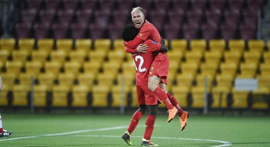 Jubel hos FCN. Alka Superliga mesterskabsspil: FC Nordsjælland - AaB på Right To Dream Park i Farum, den 6. april 2018. (Foto: Tariq Mikkel Khan/Scanpix 2018)