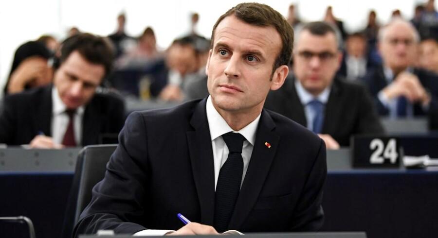 Den franske præsident Emmaniel Macron under tale i Europa-Parlamentet i Strasbourg, 17. april 2018. (Foto: EPA/PATRICK SEEGER)