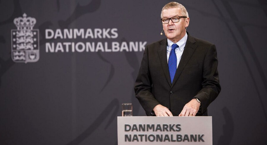 Pressemøde i Nationalbanken med nationalbankdirektør Lars Rohde