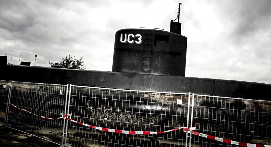 Peter Madsen's ubåd UC3 Nautilus er i politiets varetægt og står bag hegn i Nordhavnen i København mandag den 11. september 2017. (Foto: Mads Claus Rasmussen/Scanpix 2017)