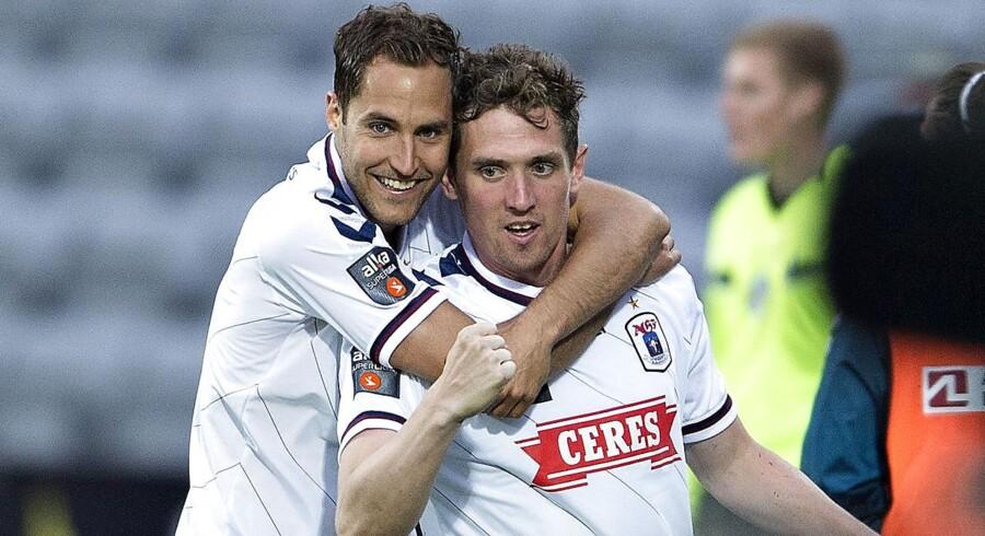 """AGFs Morten """"Duncan"""" Rasmussen jubler efter at have scoret til 1-0."""