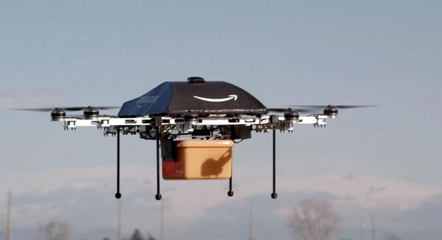 En af Amazons leveringsdroner. Arkivfoto,