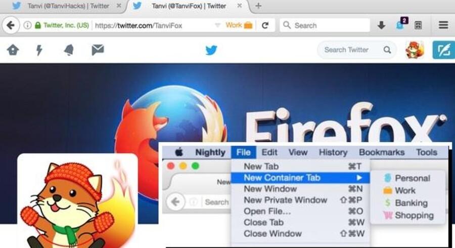 I den kommende Firefox kan man f.eks. være logget ind på Twitter med to forskellige konti i hvert sit adskilte faneblad. Man vælger simpelt hen (se det indsatte, lille billede) at åbne en »container« i stedet for et faneblad eller vindue. Foto. Firefox