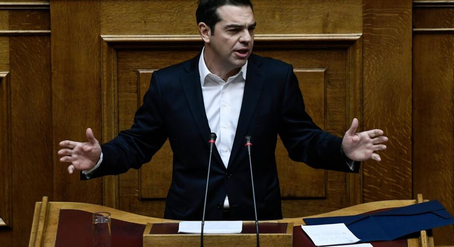Alexis Tsipras i det græske parlament 19. december, da parlamentet vedtog finansloven for næste år. Scanpix/Angelos Tzortzinis
