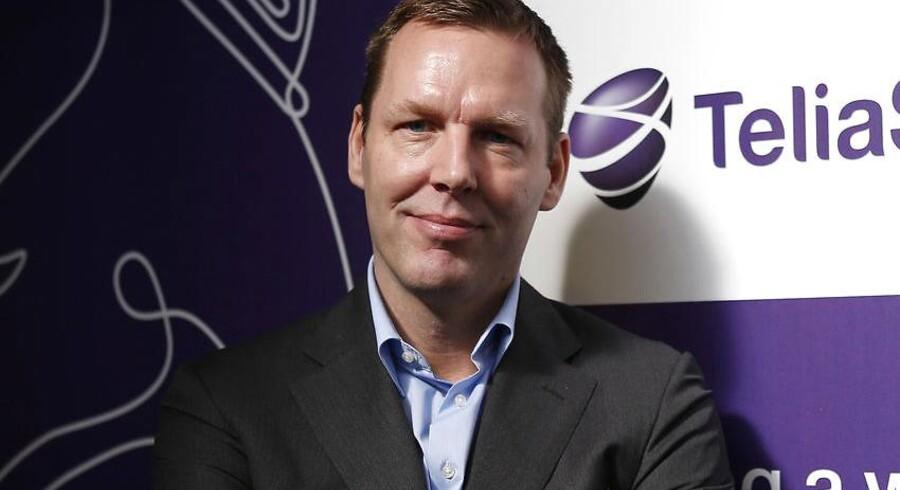 Telias koncernchef, Johan Dennelind, har ifølge svensk avis forhandlet i sidste uge om at lægge bud på TDC. Arkivfoto: Albert Gea, Reuters/Scanpix