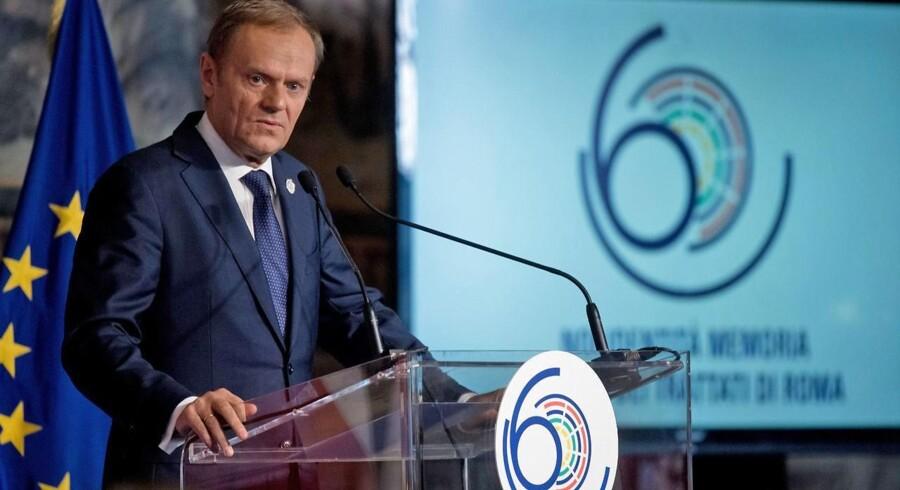 EUs præsident Donald Tusk høstede med en stærkt personlig tale om sin polske hjemby Gdansks rolle i nyere europæisk historie stort biflad under fejringen af 60-året for Rom-traktaten. EPA/EU / ETIENNE ANSOTTE / HANDOUT ITALY OUT HANDOUT EDITORIAL USE ONLY/NO SALES