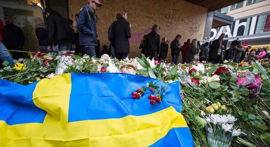 I Stockholm mindes ofrene for fredagens terrorangreb. Foto: Jonathan Nackstrand