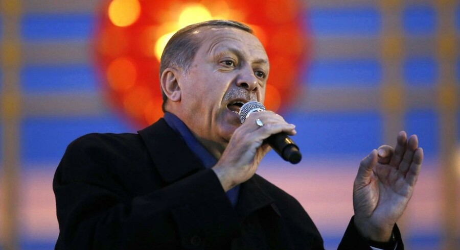 Arkivfoto af Tyrkiets præsident Recep Tayyip Erdogan under et vælgermøde i Ankara.
