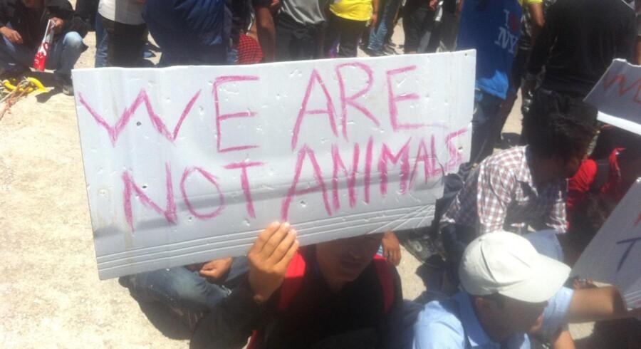 Flygtningedemonstration i Mytilene. Privatfoto: Jens-Martin Eriksen