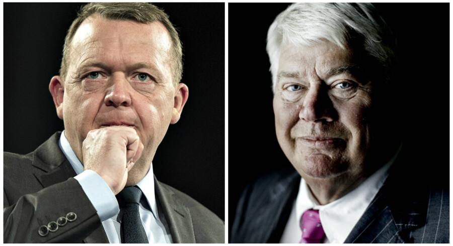 Statsminister Lars Løkke Rasmussen (V) og formand for bestyrelsen i Danfoss Jørgen Mads Clausen.