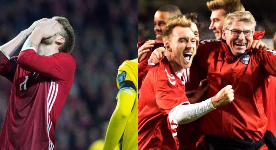 Til venstre: Ærgrelse over resultatet af kampen mod Sverige i EM-kvalifikationsrunde i 2015. Til højre: Jubel over sejren over Irland i VM-kvalifikationsrunden i år.