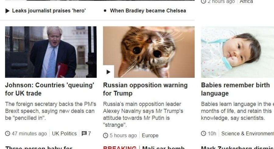 Her på forsiden af britiske BBC virker den automatiske udskiftning af billeder af Donald Trump med kattekillinger - selv om man lige studser over at se det.
