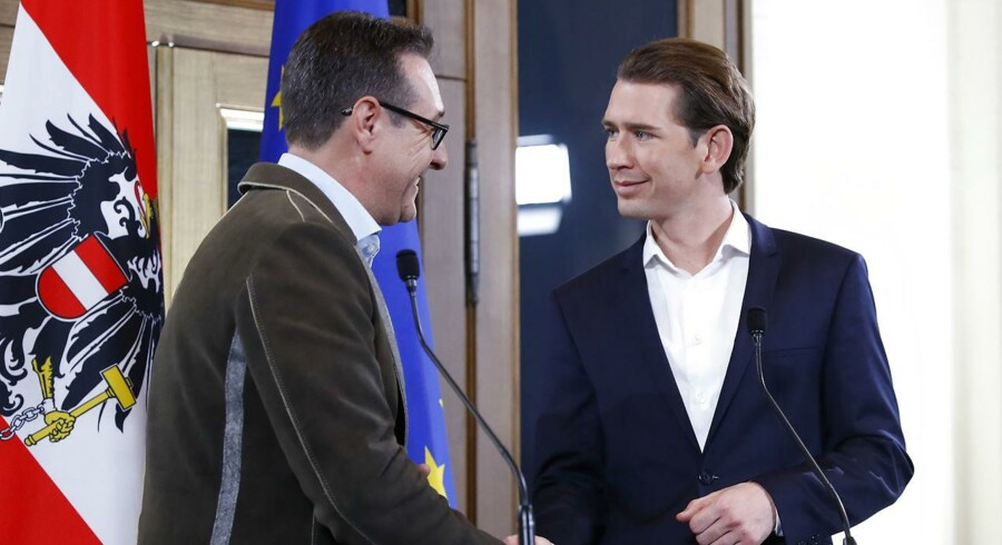 Formand for Frihedspartiet, Heinz-Christian Strache, og formand for Østrigs konservative parti, Sebastian Kurz.