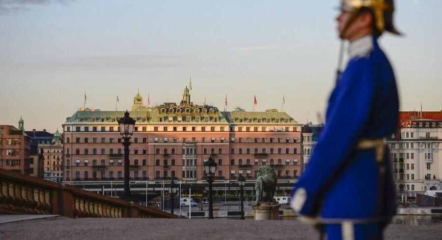 Grand Hotel i Stockholm er kommet i stærk modvind efter at have huset en gallafest for europaæiske højrepartier. AFP PHOTO / SCANPIX SWEDEN / HENRIK MONTGOMERY +++ SWEDEN OUT