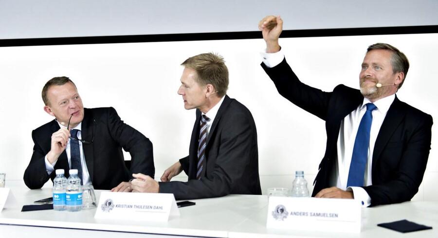 Lars Løkke Rasmussen, Kristian Thulesen Dahl og Anders Samuelsen.