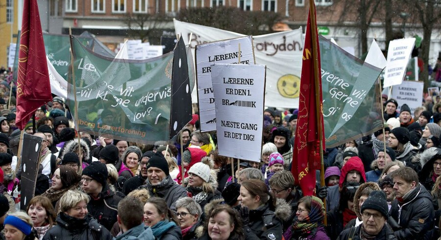 OK18-status: Heller ikke tirsdag lykkedes det parterne at finde den enighed, som kræver at undgå en storkonflikt. Arkivfoto fra demonstration i Aalborg den 20. marts 2013.