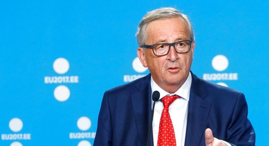 Kommissionsformand Jean-Claude Juncker langer voldsomt ud efter EU-parlamentarikere for ringe fremmøde. REUTERS/Ints Kalnins