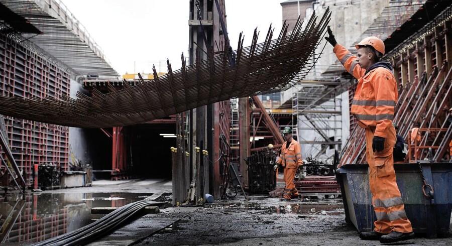 Polske håndværkere i gang med at bygge Nordhavnstunnellen i nærheden af Svanemøllen 30. september 2013. Problemet med udenlandsk arbejdskraft er efterhånden, at der i mange andre lande, som vi normalt rekrutterer fra, også er brug for ledige hænder.